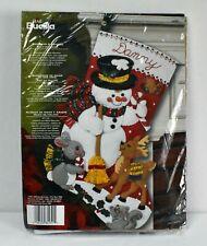 Bucilla Snowman and Friends Felt Applique Stocking Kit Christmas 2009 Deer Bunny