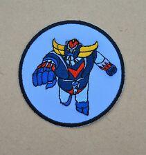 patch , coton bleu ciel , goldorak ,9cm, brodé , thermocollant