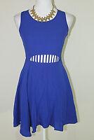 INTU Womens Sz Small Blue Waist Cuttout Sleeveless Fit & Flare Dress