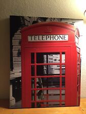 London Phone Booth Color Splash 16x20 Printed on Canvas Framed Ready to Hang
