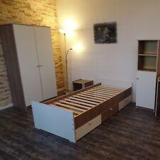 Jugendzimmer Kinderzimmer komplett Set  Schrank Regal Kojen-Jugendbett WeißBraun