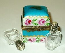 LIMOGES BOX ~ FLORAL CHEST & PERFUME BOTTLES & PEARLS ~ ROSES ~ PEINT MAIN
