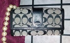 Coach Wallet TriFold NEW Navy Black Signature Jacquard  Trademark Button Frontal