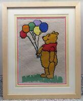 "Winnie The Pooh 12""x8"" Crochet Kids Baby Room Decore Framed Wall Hanging Art"