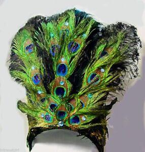 PEACOCK Feather Jeweled SHOWGIRL HEADDRESS mardi Gras Costume
