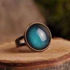 Dark green handmade ring adjustable statement glass dome ring gift bronze/silver
