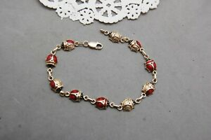 "Lady Bug Beetle Bracelet 14K Yellow Gold & Enamel 7 1/2""  Lobster Clasp 5.9 gram"