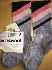 SmartWool PhD CYCLE Ultralight Pattern Crew Socks–Lt Gray, Run Tennis –Women MED