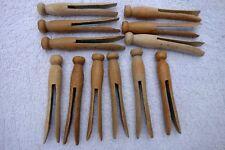Vintage Wooden Clothes Pins 1950's/Crafts/Round Head Flat Top-1 dozen