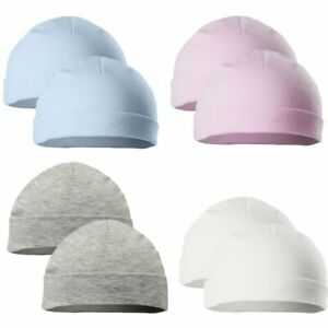 Baby Hat Boy Girl Cotton Hats 2 Pack Kids Infants Beaniie Newborn 0-3 Months