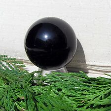 Black Obsidian Solid Crystal Gemstone Sphere - 40mm Diameter Complete with Stand