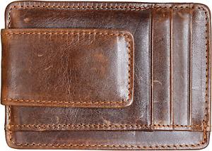 Money Clip RFID Front Pocket Wallet Men Leather Slim Minimalist Wallet Brown NEW
