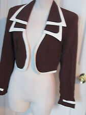 vintage cache bolero jacket brown 4 and matching top p 2 pc set    #753   #961