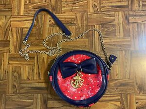 Rare Betsey Johnson Crossbody Round Purse Red White Blue Chain Strap Maritime