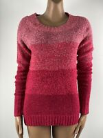 M&CO Boucle Knit Raspberry Pink Stripe Colour Block Sweater 12