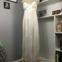 Vintage Barad Slip Small Ivory Peach Floral Maxi Union Made In USA