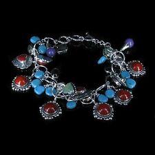 .925 Sterling Silver Turquoise Red Coral Purple Jade Garnet Charm Bracelet