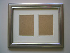 SILVER WOODEN DOUBLE ACEO/SCHOOL PICTURE FRAME WITH 2 HOLES,IVORY MOUNT