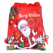 Cute Christmas Non-woven Candy Gift Bag Pocket Drawstring Pouch Xmas Kids Gift