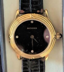 Bucherer Swiss Watch Onyx Black Dial Diamond Ladies Watch