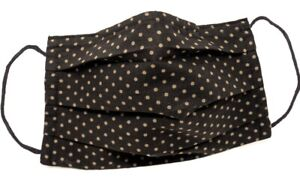 Polka Dot Cotton Face Mask - Nose Clip - Black and Beige