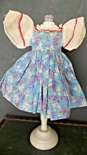 Sweet! Vintage/ANTIQUE  Floral COTTON DOLL Dress with ORGANDY Sleeves for DOLL