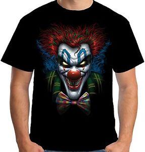 Velocitee Mens T-Shirt Psycho Clown Scary Evil Horror Joker Biker A19421