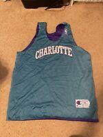 Men's Vintage Charlotte Hornets 90s Sz XL Warm up Tank Top Jersey XLarge teal
