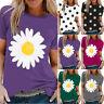 Women Daisy Print Short Sleeve T-Shirt Summer Casual Loose Top Blouse Tunic Tee