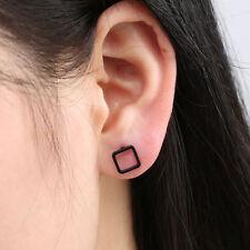 Punk Black Gold Silver Earrings Simple Rectangle Women Girl Ear Stud Earring