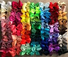 """6"""" Inch Extra Large Grosgrain Ribbon Boutique Hair Bow Bows Clip 85 Colours UK"""