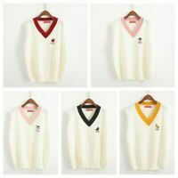 Preppy Style Waistcoat Vest V-neck Pullover Knitted Loose Casual Embroidery