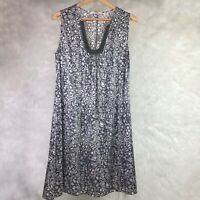 Beth Bowley 100% Silk Dress Size 12 Gray Cream Floral Shift Velvet