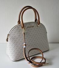 Michael Kors Bag Emmy LG Dome Satchel Signature Vanilla Bag
