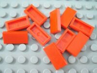 LEGO Lot of 10 Red 1x2 Smooth Flat Tile Parts and Pieces