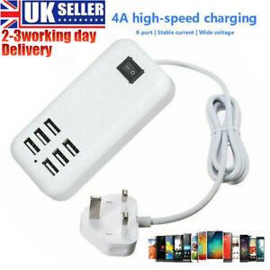 Multi 6-Ports USB Phone Charger Socket Fast Charging Station Adapter UK Plug NEW