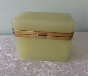 Antique yellow green French opaline glass casket box hinged brass lid chartreuse
