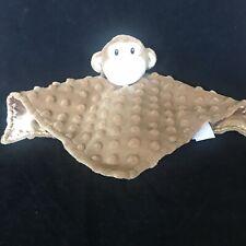 Elegant Baby Monkey Lovey Security Blanket Minky Dot Brown