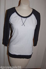 Womens Tee Shirt BLACK WHITE 3/4 SLEEVE JERSEY Ribbed Waist Sleeves S 4-6