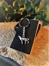 Handmade Howling Wolf Moon Key Ring / Handbag Charm. Gift Boxed.