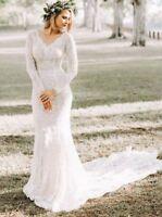 Boho Beach V neck Long Sleeve Lace Sheath Mermaid Wedding Dresses Bridal Gowns