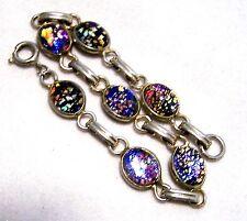 Vintage Purple Foil Art Glass Bracelet Oval Cabochon Gold Tone 1016hFZ