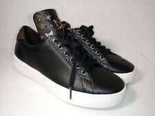 MICHAEL KORS Mindy LaceUp Leather 43R9MNFS7L Black Brown Women's Sneakers sz 8.5