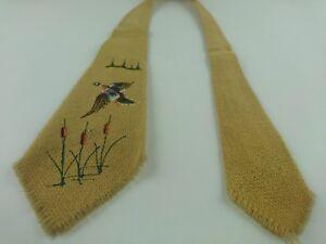 Vintage 40s Monterey Hand Loomed Mills Tie 100% Wool Woven California Art Deco