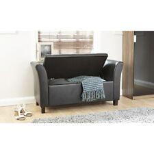 Home Source Verona Window Seat Faux Leather Black 60 X 120 X 45 Cm