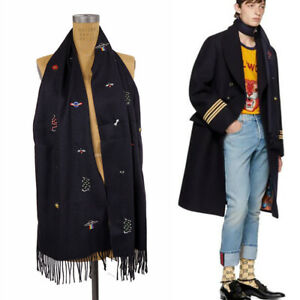 NEW $810 GUCCI Unisex Navy Silk Cashmere EMBROIDERED Logo Snake, Bee, Cat SCARF
