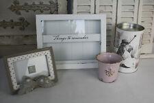 4 tlg Deko Paket Bilderrahmen Übertopf LED Laterne Erinnerungsbox weiß rosa grau