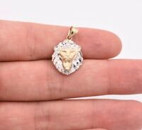 "1"" Diamond Cut Roaring Lion Head Charm Pendant Real 10K White Yellow Gold"