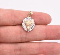"1"" Diamond Cut Roaring Lion Head Charm Pendant Real 10K White Yellow Gold"