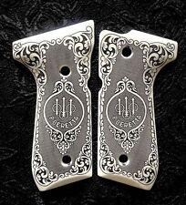 Beretta 92 92FS 96 custom ivory scrimshaw pistol gun grips Scroll Trident Logo